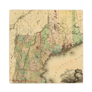 Maine, New Hampshire, Vermont, Massachusetts Wood Coaster