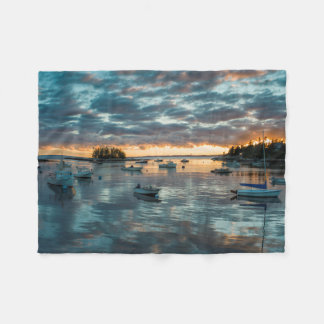 Maine, Newagen, sunset harbor 1 Fleece Blanket