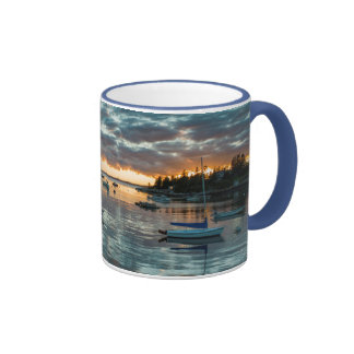 Maine, Newagen, sunset harbor 1 Ringer Mug