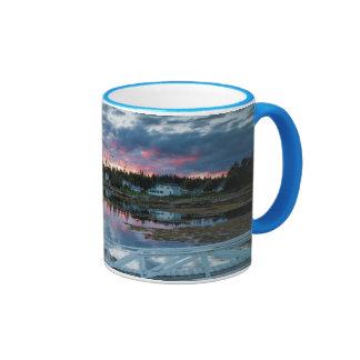Maine, Newagen, sunset harbor 2 2 Ringer Mug