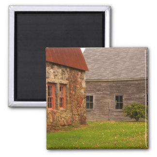 Maine,  Old stone building and wooden barn in Magnets