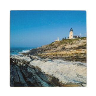 Maine, Pemaquid Point, Pemaquid Point Lighthouse Wood Coaster