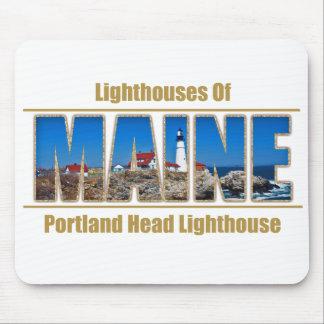 Maine Portland Head Lighthouse Image Text Mousepads