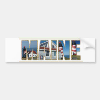 Maine Quoddy Head Lighthouse Image Text Car Bumper Sticker