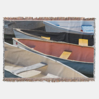 Maine, Rockland. Colorful boats in Rockland Throw Blanket