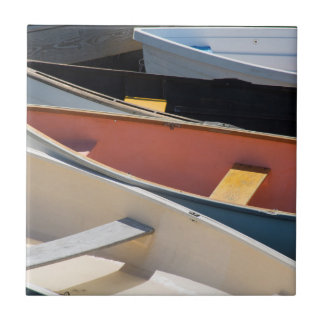 Maine, Rockland. Colorful boats in Rockland Tile