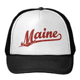 Maine script logo in red distressed cap