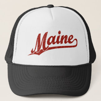 Maine script logo in red distressed trucker hat