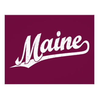 Maine script logo in white distressed full color flyer