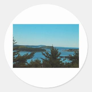 Maine Seascape landscape Round Sticker