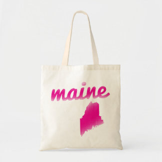 Maine state in pink tote bag