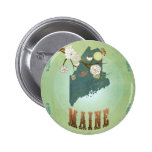 Maine State Map – Green 6 Cm Round Badge