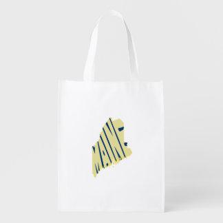Maine State Name Word Art Yellow Reusable Grocery Bag