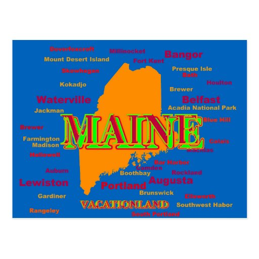 Maine State Pride Map Silhouette Post Card
