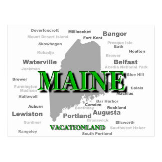 Maine State Pride Map Silhouette Postcards