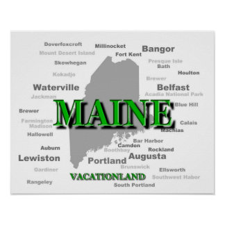 Maine State Pride Map Silhouette Posters