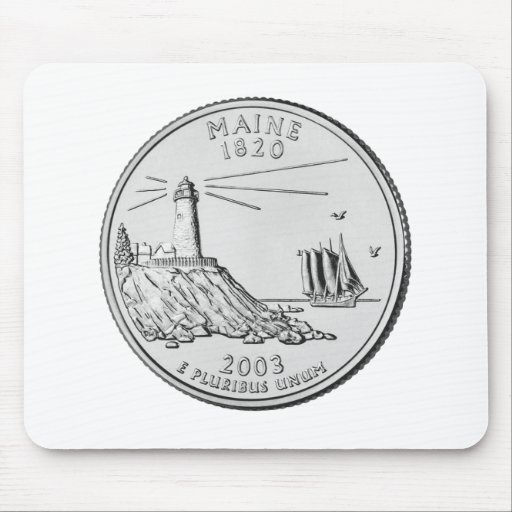 Maine State Quarter Mousepads