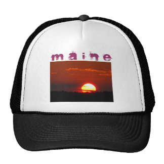 Maine sunset in fiery reds and oranges trucker hat