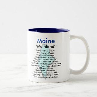 Maine Symbols & Map Two-Tone Coffee Mug