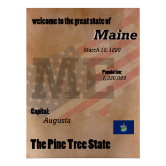 Maine The Pine Tree State Classic Poster