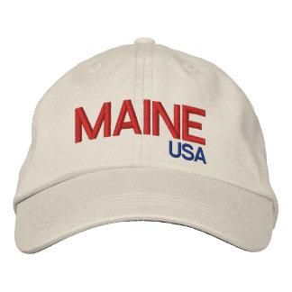 Maine USA* Adjustable Hat Embroidered Baseball Caps