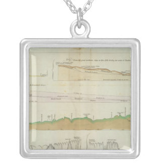 Maine vertical sections silver plated necklace