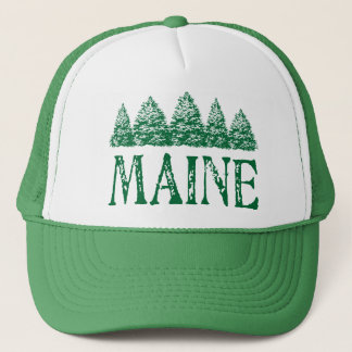Maine Winter Evergreeens Trucker Hat