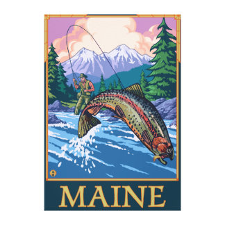 MaineAngler Fisherman Scene Stretched Canvas Print