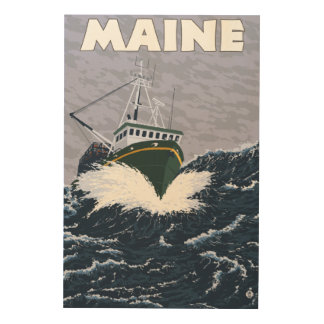 MaineCrab Fishing Boat Scene Wood Print