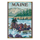 MaineRiver Rafting Scene Poster