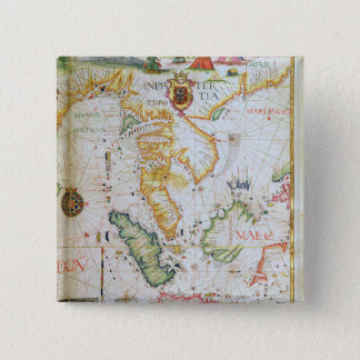 Mainland Southeast Asia, detail from world atlas 15 Cm Square Badge