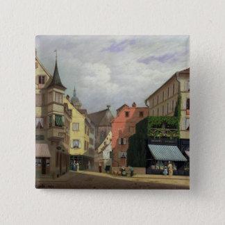 Maison Mathieu, Grand-Rue, Colmar, 1876 15 Cm Square Badge