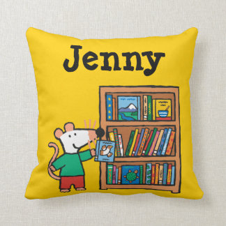Maisy and a Bookshelf of Books Cushion