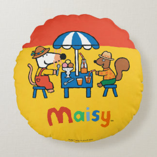 Maisy and Cyril Snacktime at the Beach Round Cushion