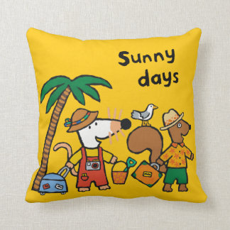 Maisy and Cyril with Palm Tree at the Beach Cushion