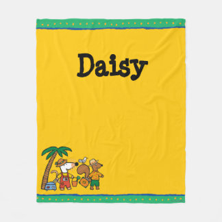 Maisy and Cyril with Palm Tree at the Beach Fleece Blanket
