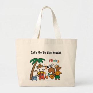 Maisy and Cyril with Palm Tree at the Beach Large Tote Bag