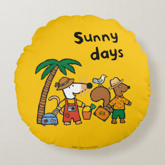 Maisy and Cyril with Palm Tree at the Beach Round Cushion