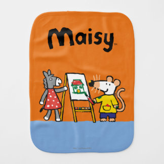 Maisy and Dotty Paint at Preschool Burp Cloth