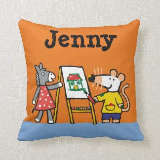 Maisy and Dotty Paint at Preschool Cushion