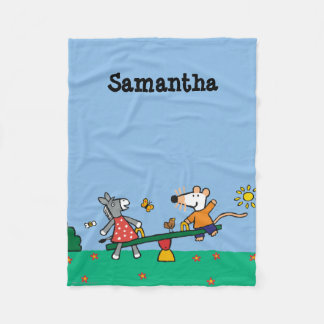 Maisy and Dotty Seesaw at the Playground Fleece Blanket