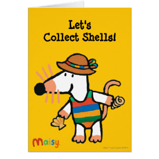 Maisy Collecting Shells At The Beach Card