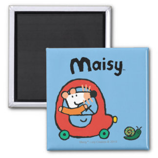 Maisy Drives a Cute Red Car Square Magnet