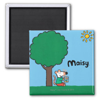Maisy Reads Her Library Book Outside Square Magnet