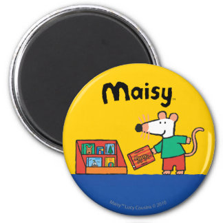 Maisy with Library Books 6 Cm Round Magnet