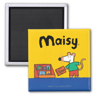 Maisy with Library Books Square Magnet