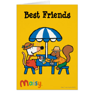Maisy Writes Postcards under Blue Umbrella