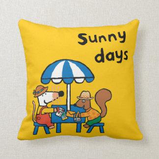 Maisy Writes Postcards under Blue Umbrella Cushion