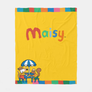 Maisy Writes Postcards under Blue Umbrella Fleece Blanket