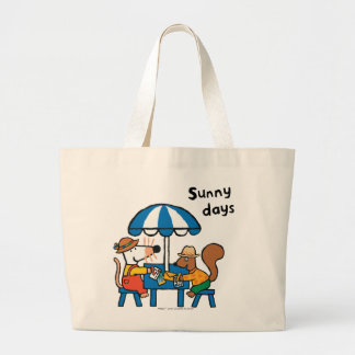Maisy Writes Postcards under Blue Umbrella Large Tote Bag